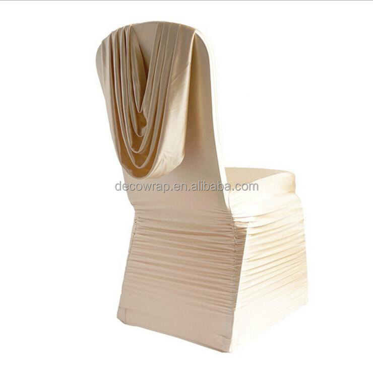Gold Ruffled Spandex Chair Cover with Satin Scarf
