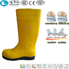 new style fashionable yellow black pvc nitrile rubber safety water boots for women