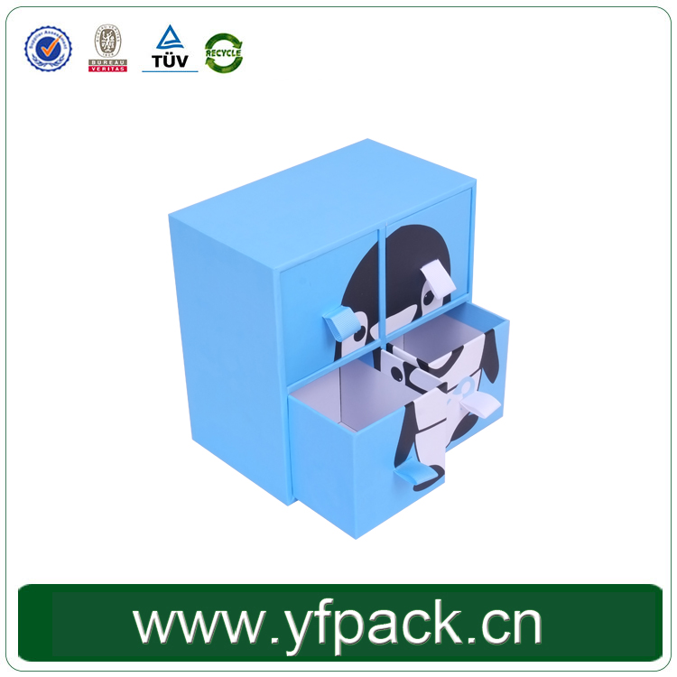 Custom Cute Design Decorative High Quality Recyclable Drawer Box In Packaging Box With Ribbon Handle