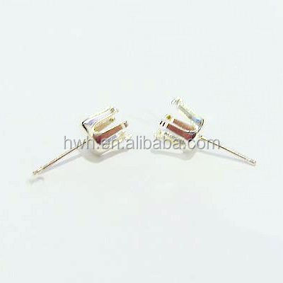 H104-3mm Sterling Silver Snap-in 6 Prongs Round Earring Stud Findings