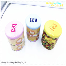 2 level colorful tin can for tea/candy/mints packaging
