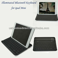 Ultra-thin Portable Backlight illuminated Wireless Bluetooth 3.0 keyboard for ipad mini black