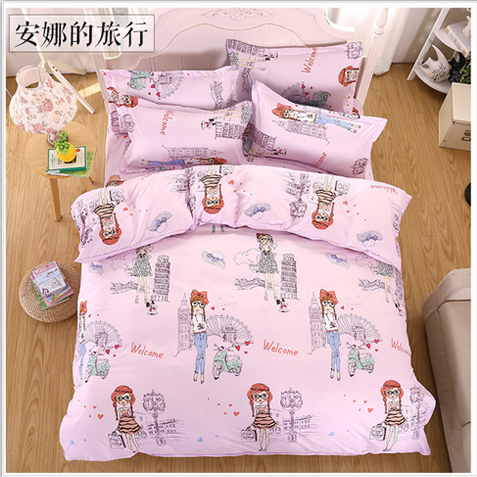 New Bedding Sets Reactive Printing Style Pink Princess Anna Travel Bed Sheets Quilt Cover pillowcase King Queen