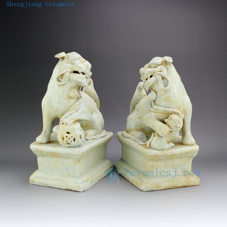 RZEI01 11 inch Pair of Jingdezhen porcelain foo dog statue