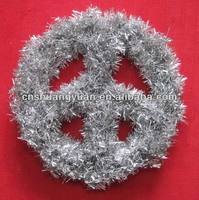 new design peace sign Christmas tinsel decoration
