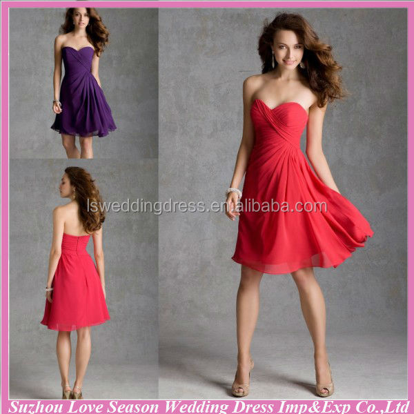 HB2037 Purple sexy strapless sleeveless sweetheart neckline gathered top high waist knee length cheap bridesaid dress under 50