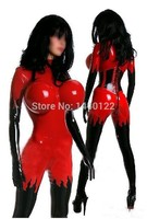 Red and black Latex rubber fetish bodysuits catsuit gummi 0.4mm plus size