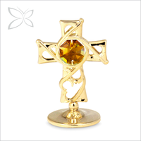Good Quality Irresitible Gold Plated Metal Crystal Cross