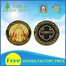 Wholesale custom 3D design bling gold plating soft enamel firefighter dept challenge coins for souvenir