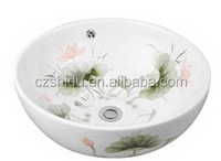 fish and flower Chinese style round bowl with one hole ceramic basin