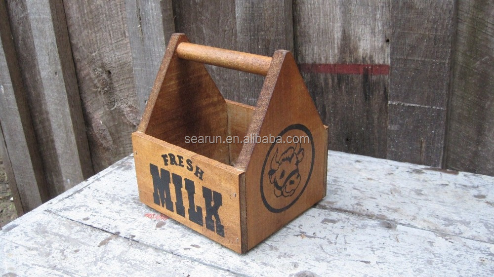 Vintage reproduction mini wooden milk crate primitive for Milk crate crafts