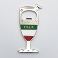 Wholesale Souvenirs Italy Metal Stamping Wine Glass Magnet Drinking Cup Shaped Bottle Opener Custom Molded Bottle Opener