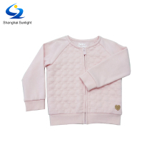Pink French Terry Cartoon Casual Long Sleeve Zip Up Sport Baby Sweatshirt