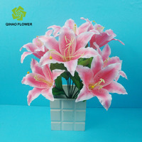 Home&Wedding decoration 9 heads plastic/artificial tiger lily flower in stock
