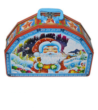 Christmas gift handle tins, holiday gift tin box