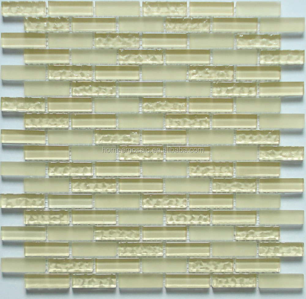 light yellow glass mosaic tile for interior decorator in bathroom wall tile
