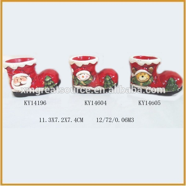 Creative cheap christmas decorations ceramic shoes