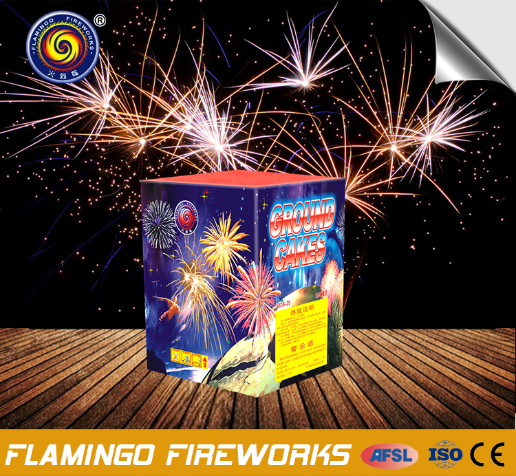 New arrival 25S Ground Cakes fan shape professional cake fireworks for sale 1.3g un0335