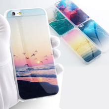 Hot selling fancy scenery slim soft TPU glossy mobile phone case for iPhone 6s 7 8 Plus X
