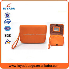 Orange polyester customzied cheap cosmetic bag for cheerleading