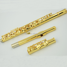 Flute Musical Instrument Golden Recorder Flute Metal Gold Flute with 16 Open Holes
