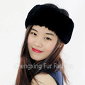 CX-E-38B Elastic Snood Knit Genuine Rex Rabbit Fur Headband