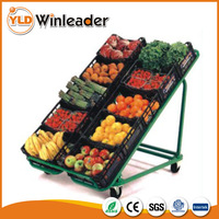 Supermarket metallic produce vegetables and fruit display rack shelves