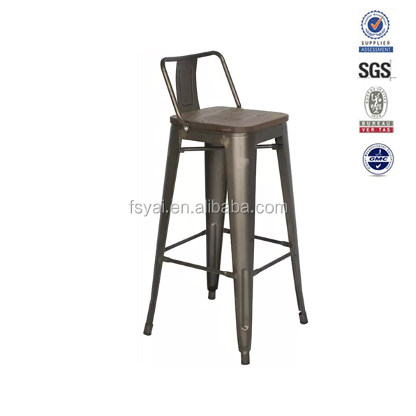 industrial style commercial industrial chair wood metal frame bar stool cheap