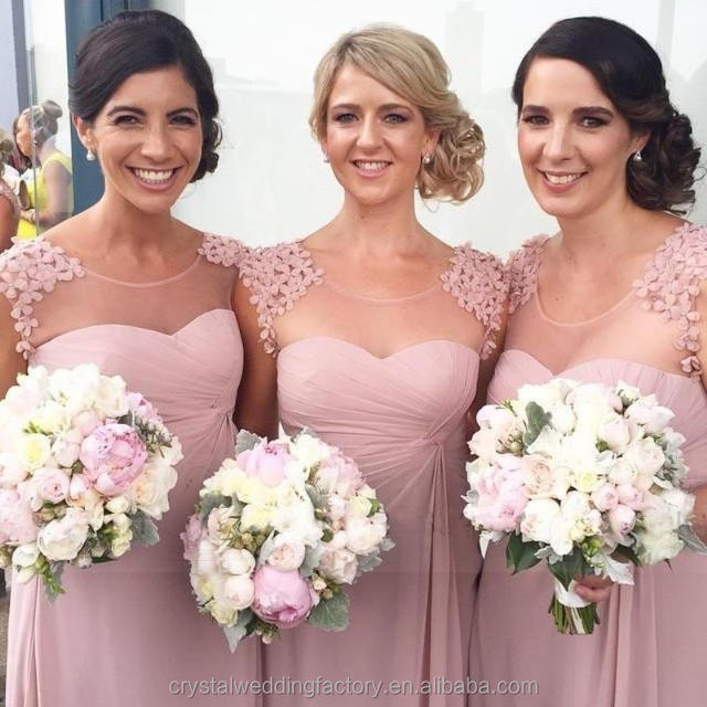 2016 Scoop Neck Chiffon Maid of Honor Dresses Wedding Party Gowns Beach Dusty Rose Pink Cheap Bridesmaid Dresses CWFb2335