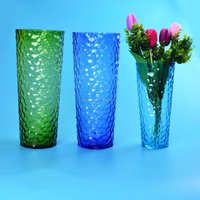 Huge cylinder glass vase set in colors with grid design