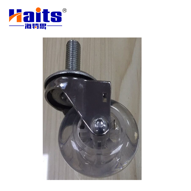 High quality pin style transparent rubber caster wheel with brake