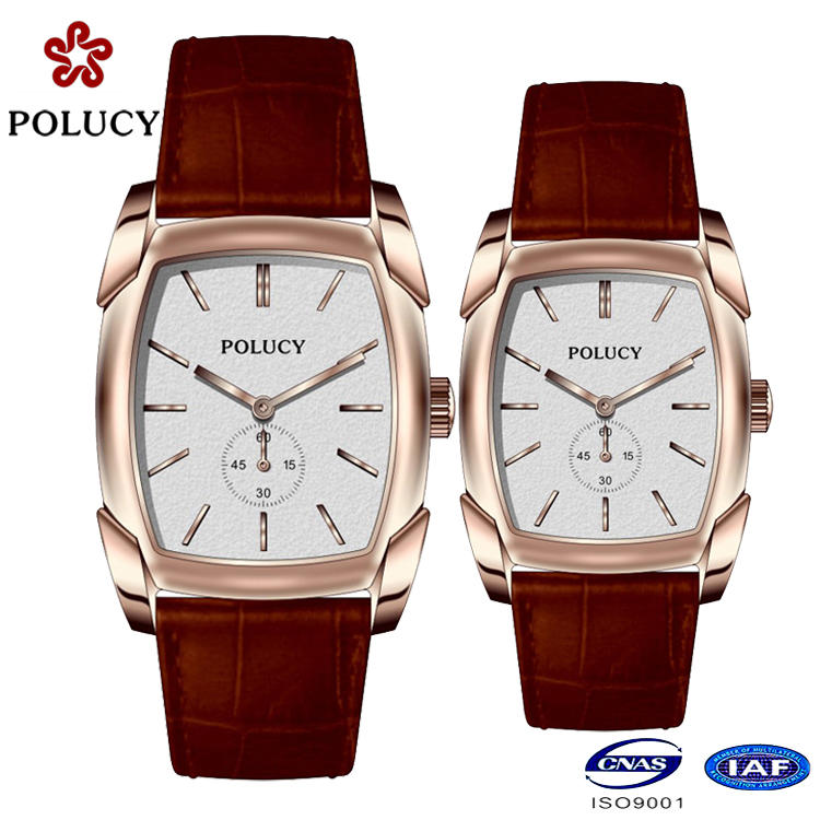 High-end custom minimalist watches simple dial design men's leather watch with date function