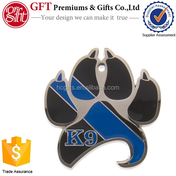 Free artwork design low moq custom full enamel color thin blue line k9 paw bottle opener coin