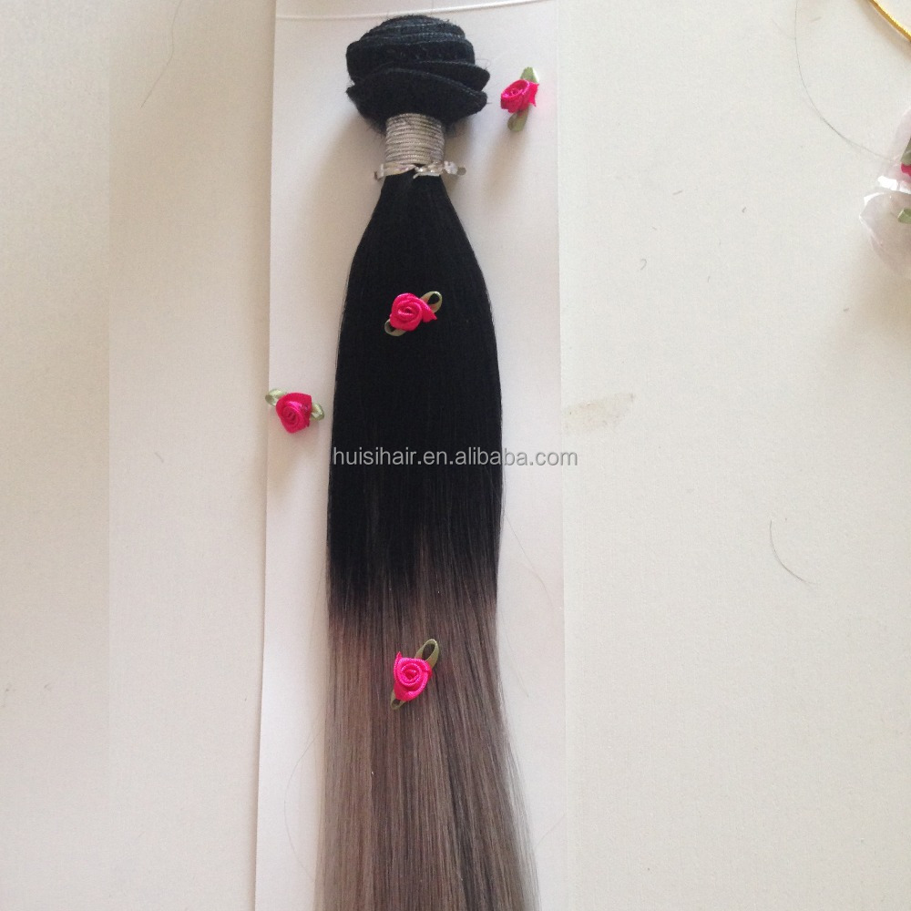 Charming three tone color human hair double drawn thick ends good feedback ombre hair weave