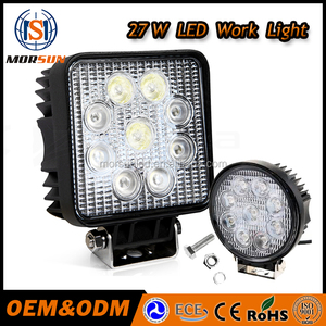 Morsun 12V waterproof led square light 4'' spot 27w led worklights 27w work led light for trucks,auto parts ,boats