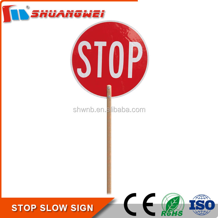 Wholesale 450mm Aluminum Timber handle Traffic hand held stop sign