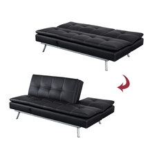 2018 Latest High quality american black leather sofa cum bed sleeper sofa tatami sofa bed