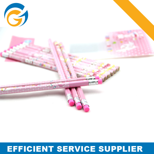 Promotion Logo Printing Pink HB Wood Pencil with Eraser