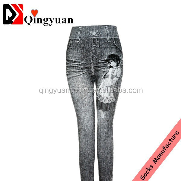 jeans pants teen girl women ladies custom printed sublimation women's seamless fleece leggings