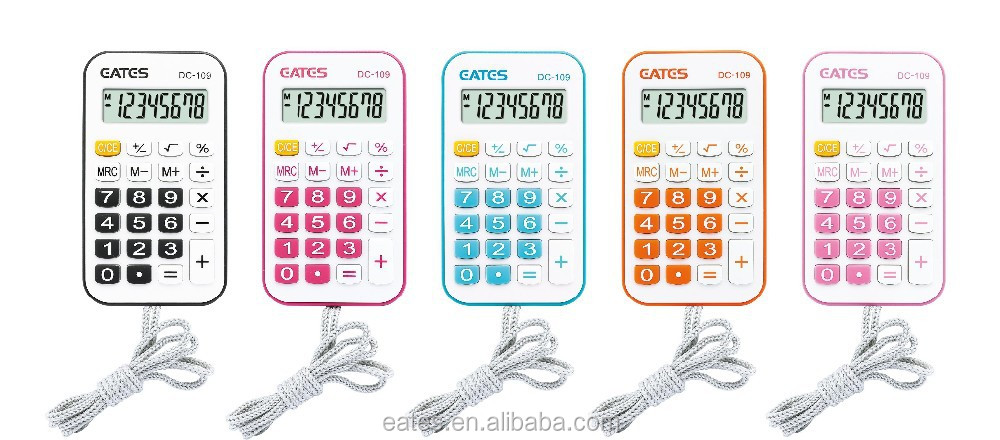 8 digits mini calculator with rope