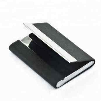 Special double sides open leather stainless steel business card holder