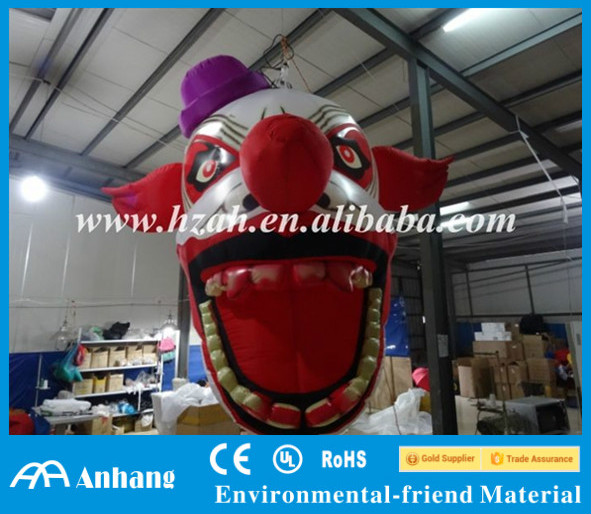 Halloween Decoration Big Hanging Inflatable Clown Head for Sale