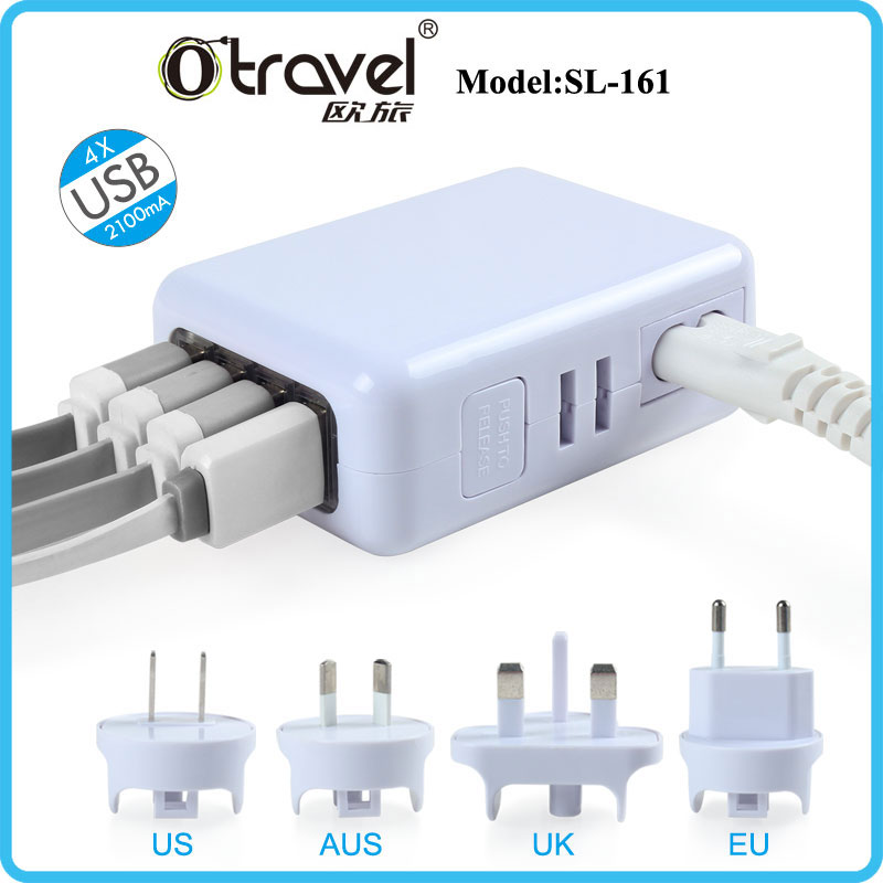 Otravel HOT! Mobile phone 4 usb output 2.1A 3.1A 5.4A usb charger wall plug UK EU US AU all-in-one international power adapter