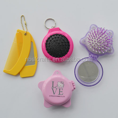 Promotional plastic keychain cheap mini cosmetic mirror