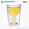New style double wall glass cup for wine
