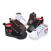 wholesale i love dad&mum pattern canvas toddler baby shoes