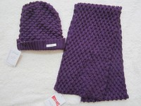 Fashion 100% Acrylic knitted scarf and hat sets for lady