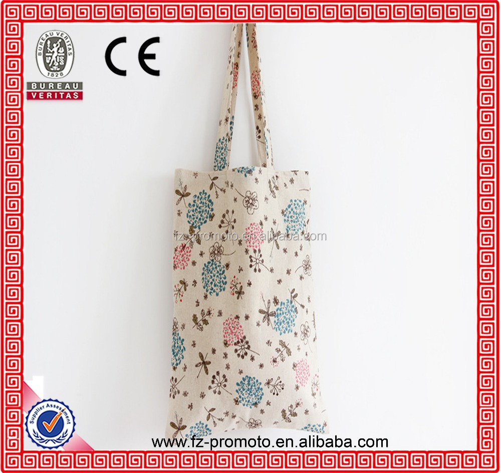 Cotton Linen Hand Bag Handmade Dandelion Digital Printing Wholesale with Inner Bag