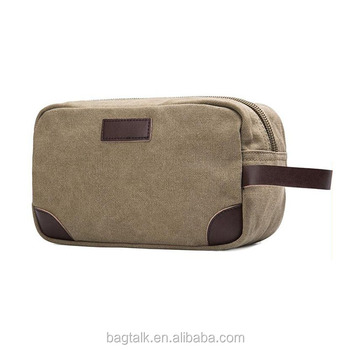CT867 Cotton Canvas Leather Mens Toiletry Bag Travel Bag