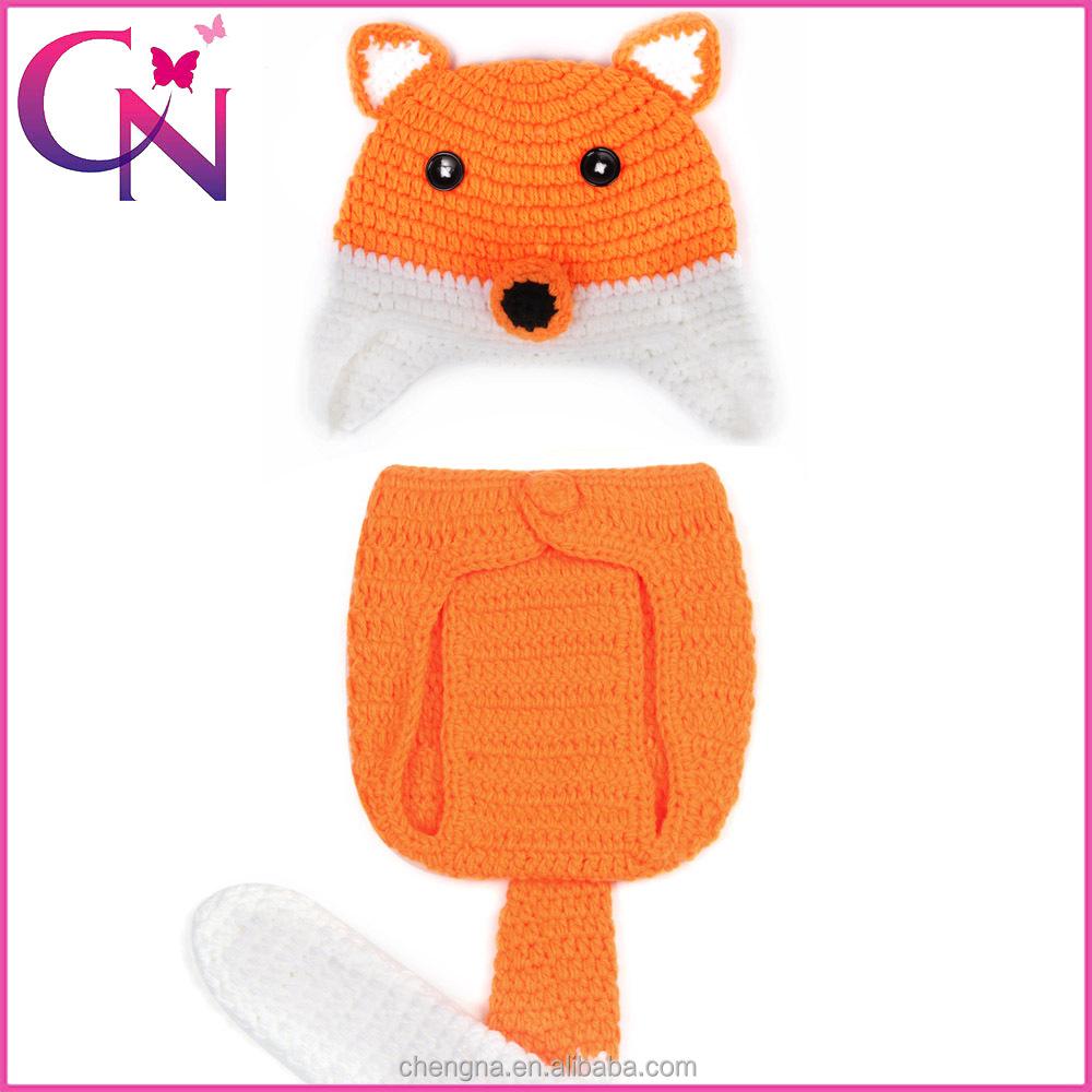 knitting wool orange animal baby clothing cute fox style